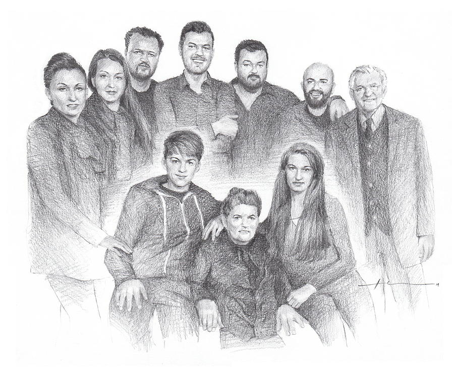Family reunion pencil drawing Drawing by Mike Theuer