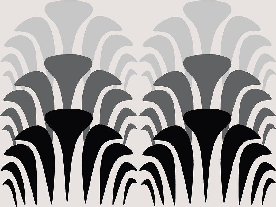 Fan Pattern 1 Black To Gray Digital Art