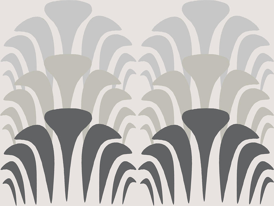Art Deco Digital Art - Fan Pattern 2 Gray Tones by Sand And Chi