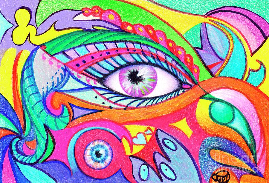 Eyes Drawing - Fan See Eyes by Nancy Cupp