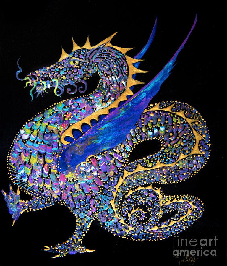 Fancy Dragon 7333 Painting by Priscilla Batzell Expressionist Art Studio Gallery