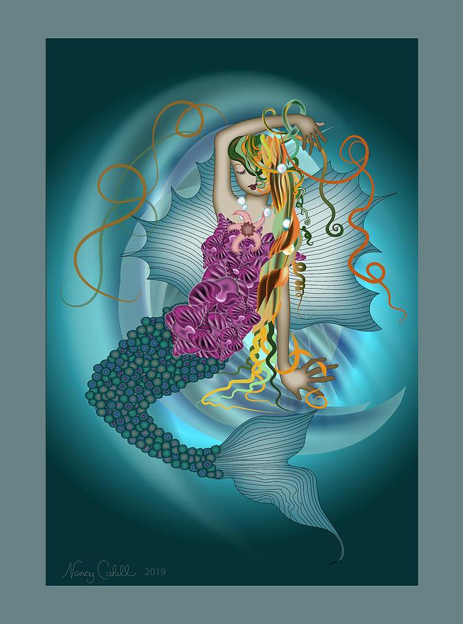 Mermaid Digital Art - Fantasea by Nancy Cahill