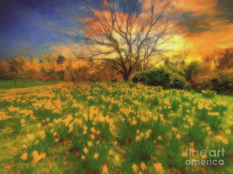 Kew Gardens Photograph - Fantasia 2 A Host of Golden Daffodils by Leigh Kemp