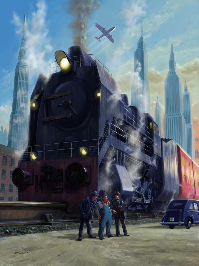 Fantasy big railroad locomotive departing city by Martin Davey