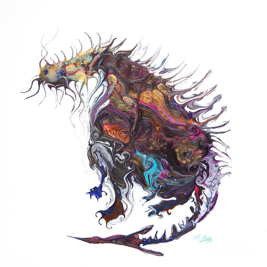 Fantasy Moose Dragon Painting by Priscilla Batzell Expressionist Art Studio Gallery