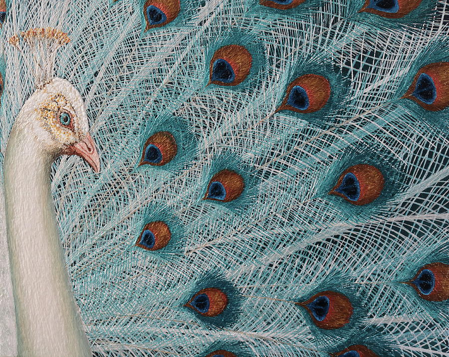 Peacock Painting - Fantasy white peacock by Russell Hinckley
