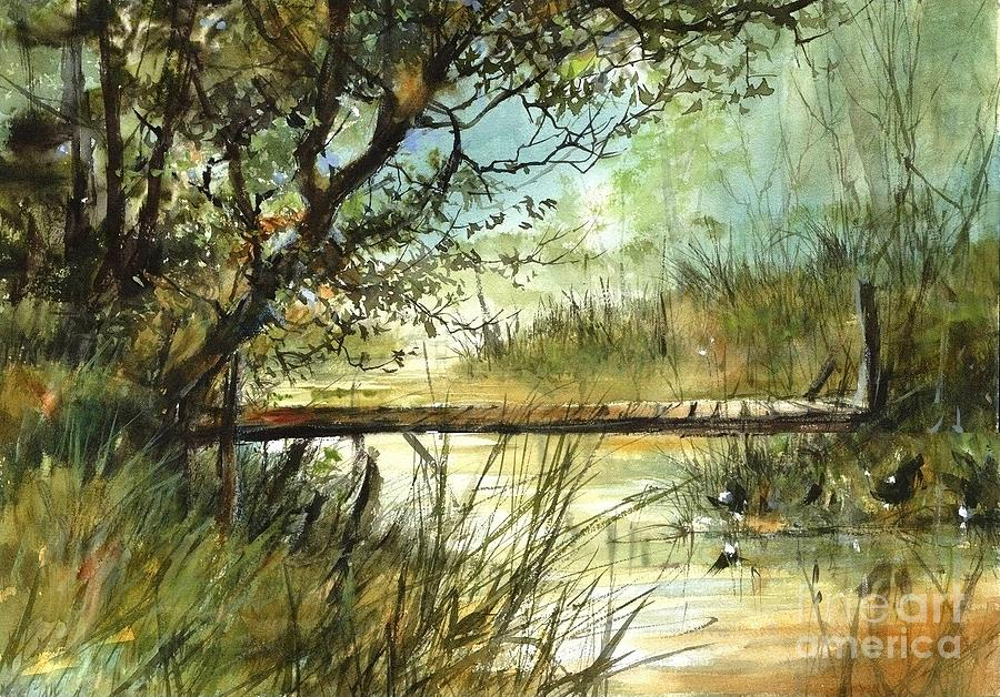 Pond Painting - Far From Noise by Suzann Sines