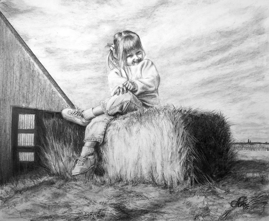 Farm Drawing - Farm Girl by Arthur Fix
