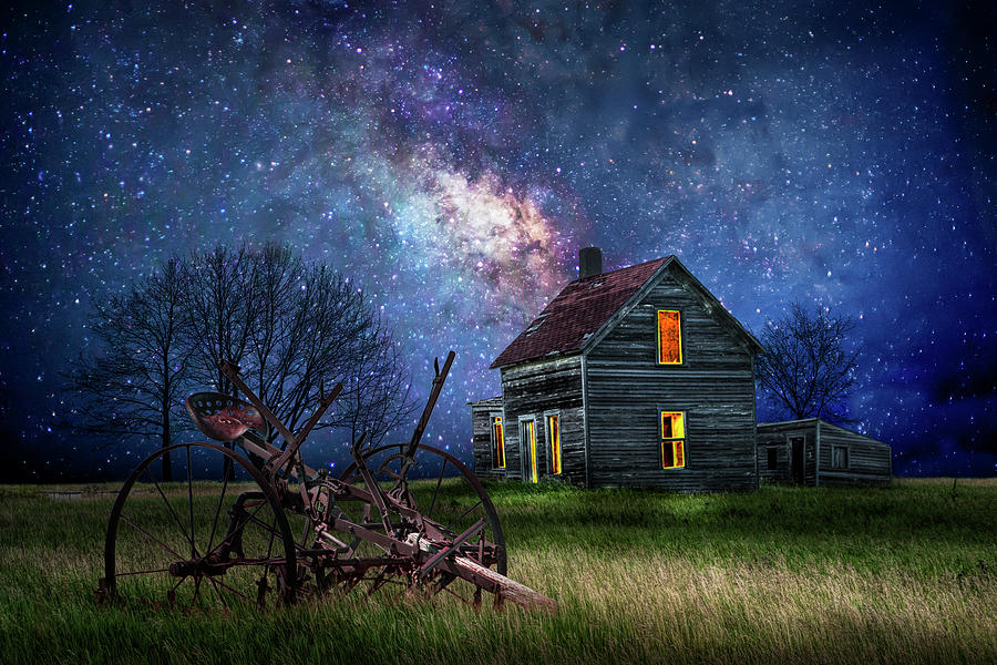 Farm House on a Starry Night in the Rural Countryside by Randall Nyhof