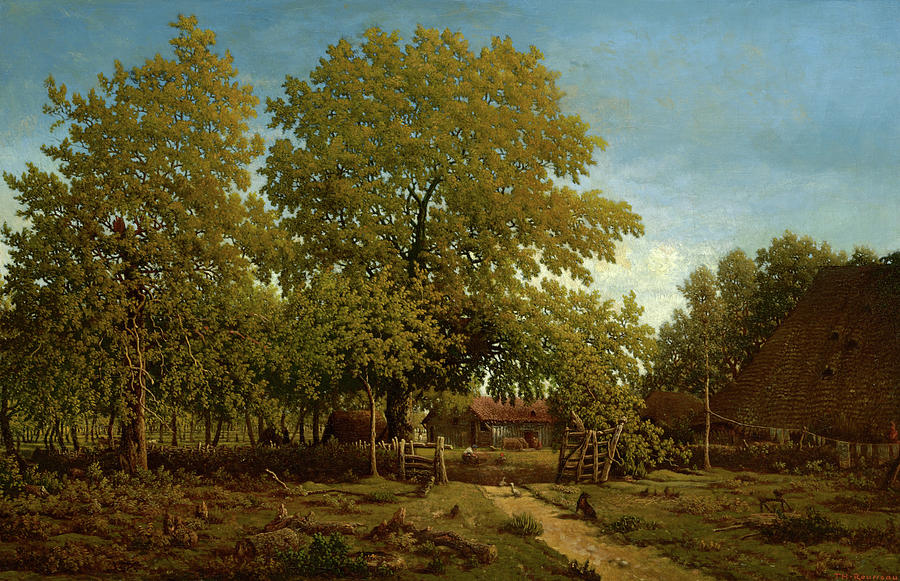 Theodore Rousseau Painting - Farm In The Landes, 1867 by Theodore Rousseau