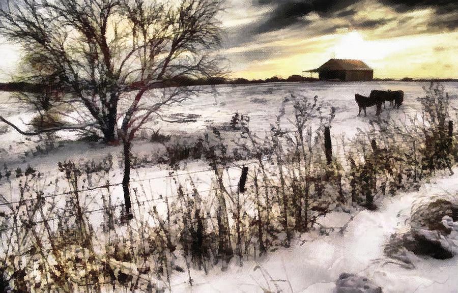 Farm Under Evening Sky Digital Art