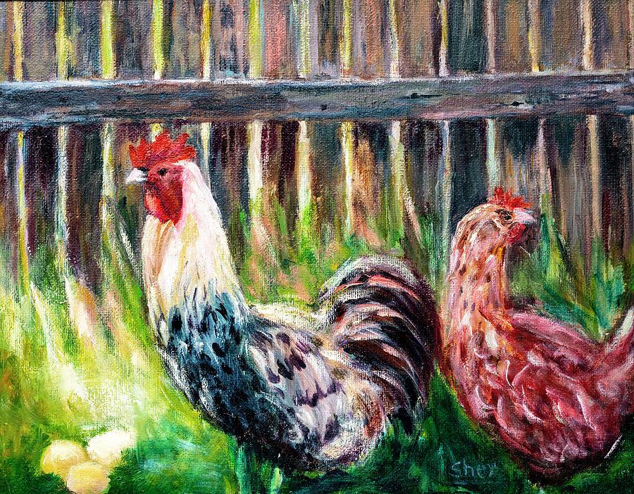 Farm Yard Chicken - Acrylic Art by Sher Nasser