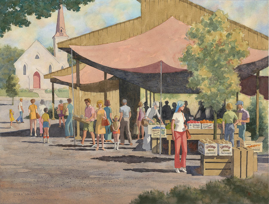 Farmers Market Painting by Stan Masters