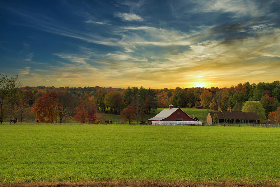 Farm Photograph - Farmhouse Sunset by Sandra Marie Photography