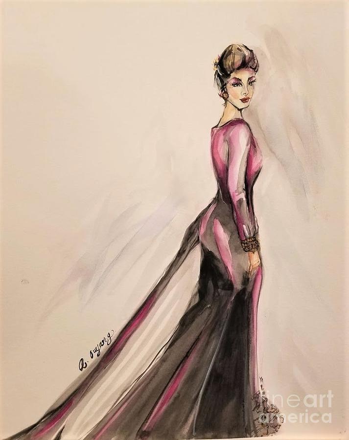 Watercolor Painting - Fashion Figure 2020 by AQQ Studio