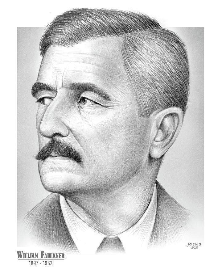 William Faulkner Drawing - Faulkner - Pencil by Greg Joens