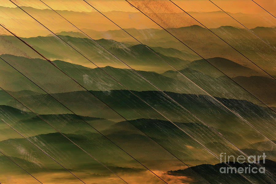 Artwork Photograph - Faux Wood Foggy Mountain Layers At Sunset Rural Landscape Photography by Pakin Songmor