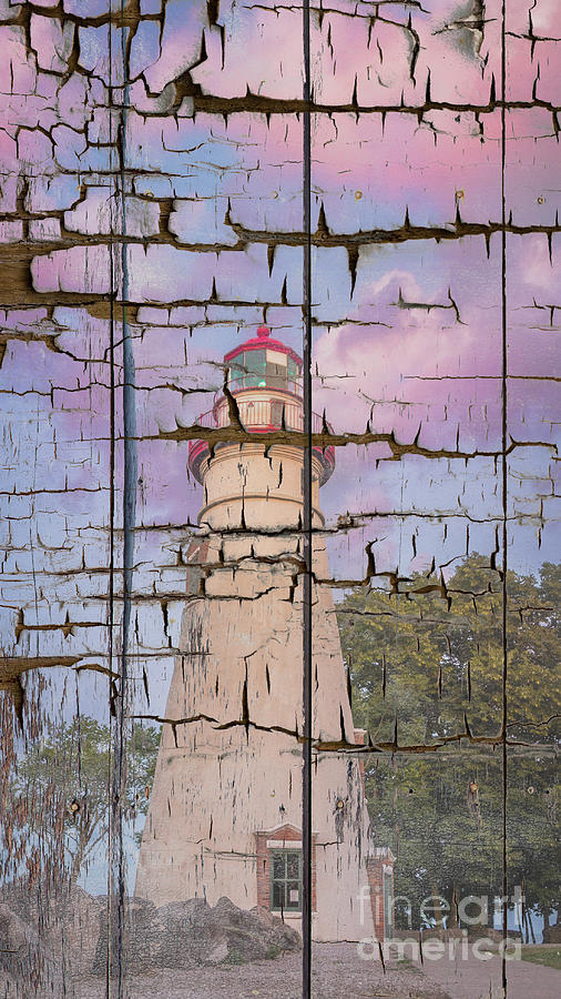 Lighthouse Photograph - Faux Wood Texture Marblehead Lighthouse At Sunset Coastal Landscape Photo by Melissa Fague