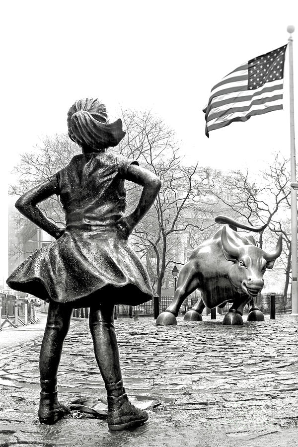 Fearless Girl And Wall Street Bull Black And White Vertical Larg Photograph