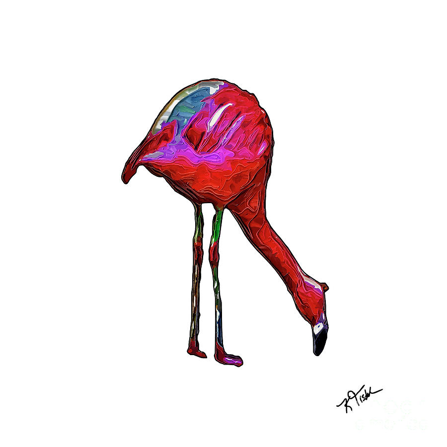 Feeding Flamingo In Abstract by Kirt Tisdale