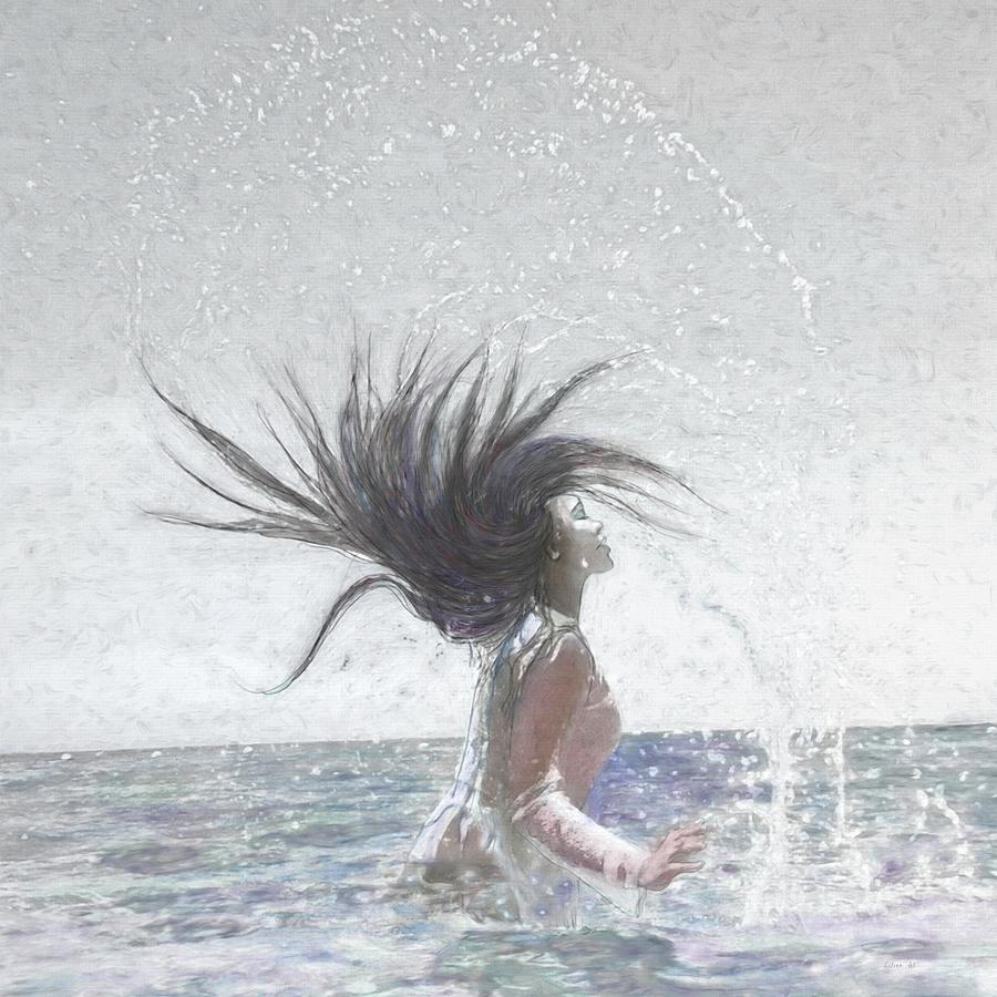 Feeling The Energy Of The Sea Sketch by OLena Art Lena Owens  by OLena Art - Lena Owens