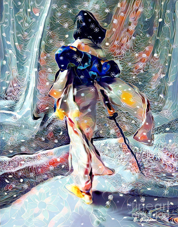 Japan Mixed Media - Female Samurai by Elizabeth Giupponi