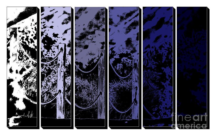 Fence in Classic Blue Tones Digital Art by Colleen Cornelius