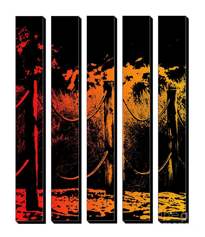 Fence in Sunset Tones Digital Art by Colleen Cornelius