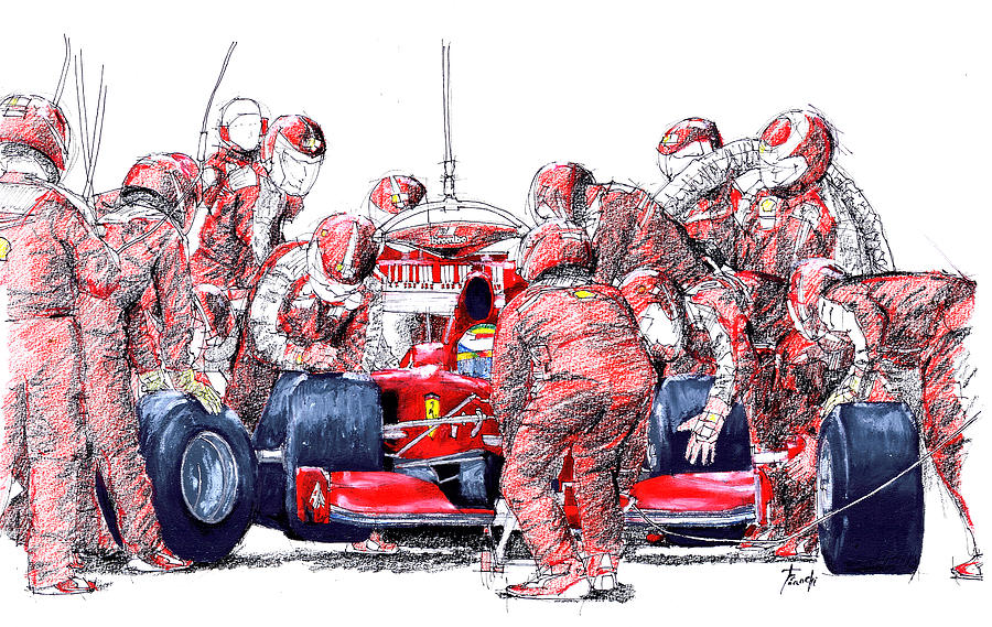 Ferrari Drawing - Ferrari A Boxes, Pits, Original Handmade Drawing by Drawspots Illustrations