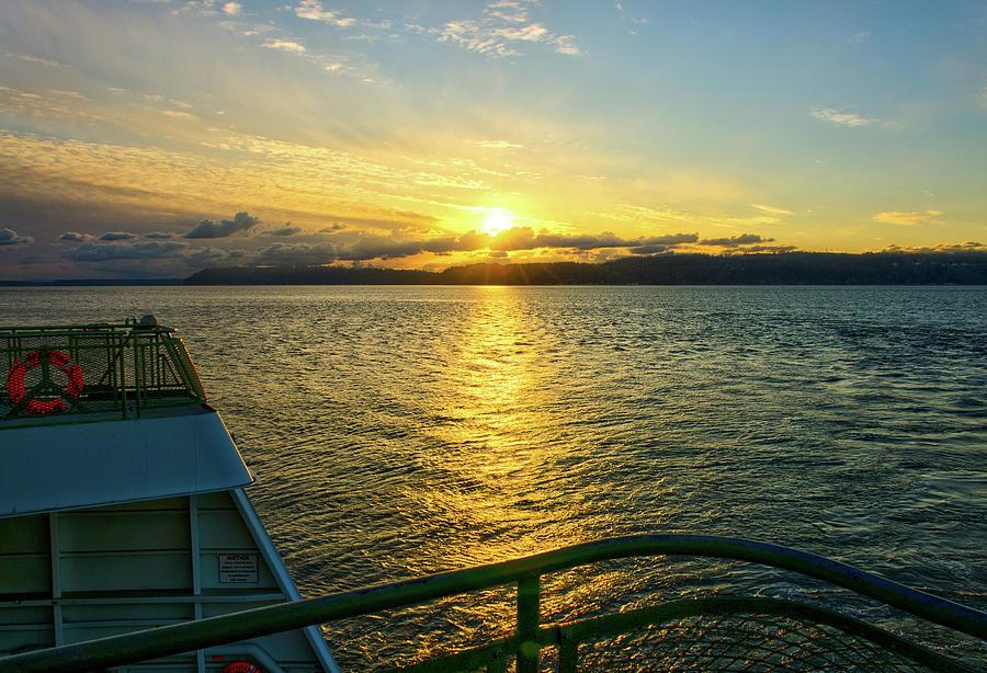 Ferry Sunset Photograph
