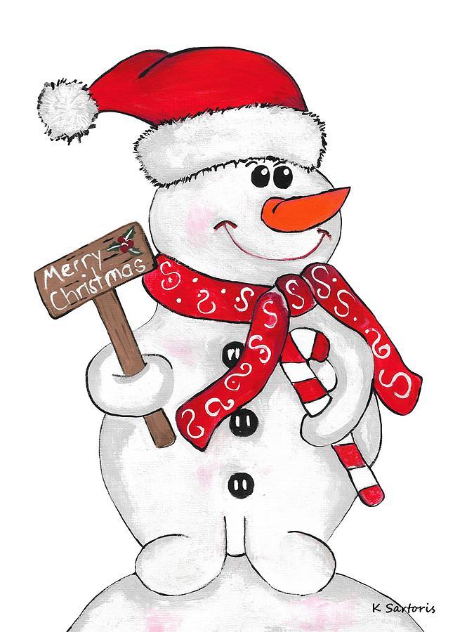 Festive Holiday Snowman by Kathleen Sartoris