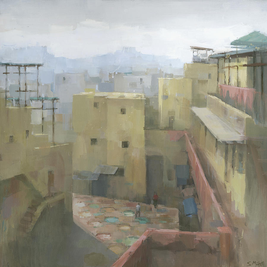 Morocco Painting - Fez Tannery, Morocco by Steve Mitchell