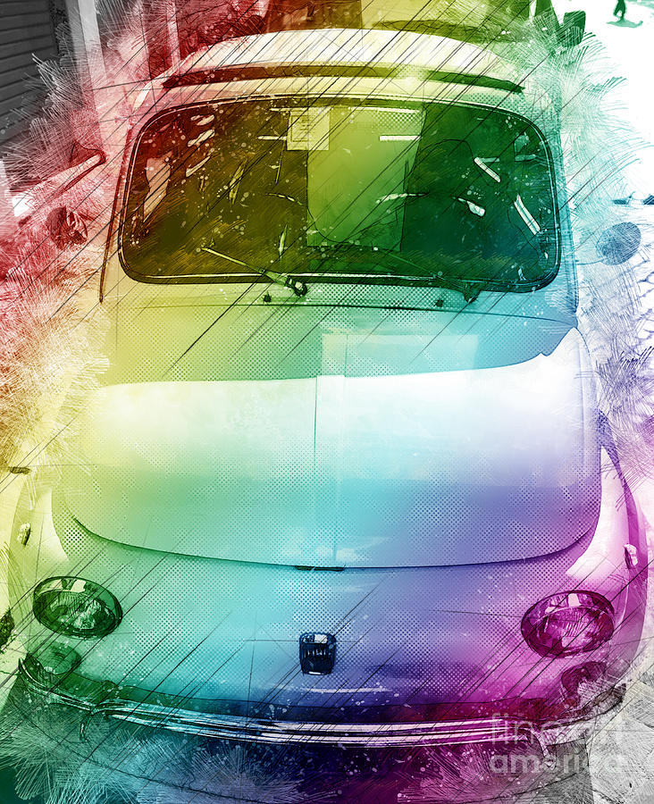 Italy Photograph - FIAT 500 Sketched Project by Stefano Senise