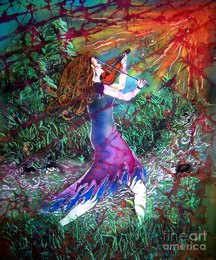 Fiddler Tapestry - Textile - Fiddler of the Forest 1 by Sue Duda
