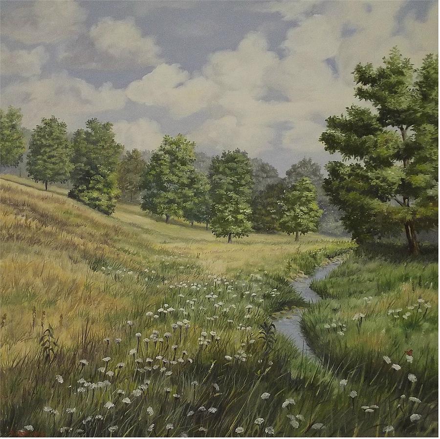 Blue Sky Painting - Field And Stream by Wanda Dansereau