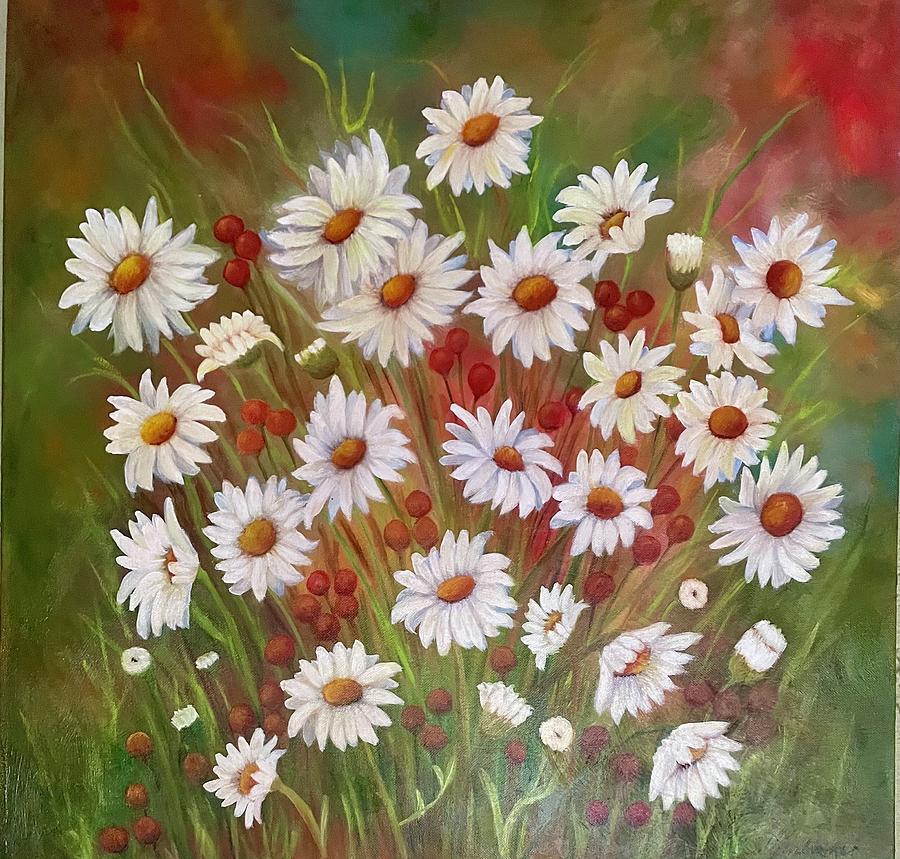 Floral Painting - Field of Daisies by Susan Dehlinger