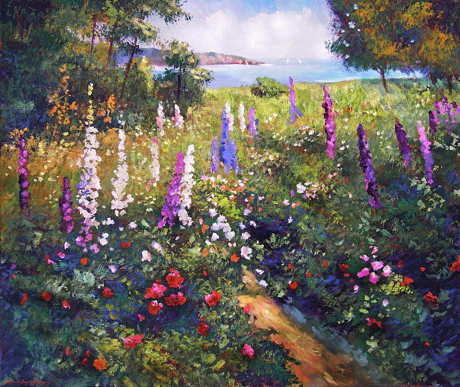 Field Of Hollyhocks Painting