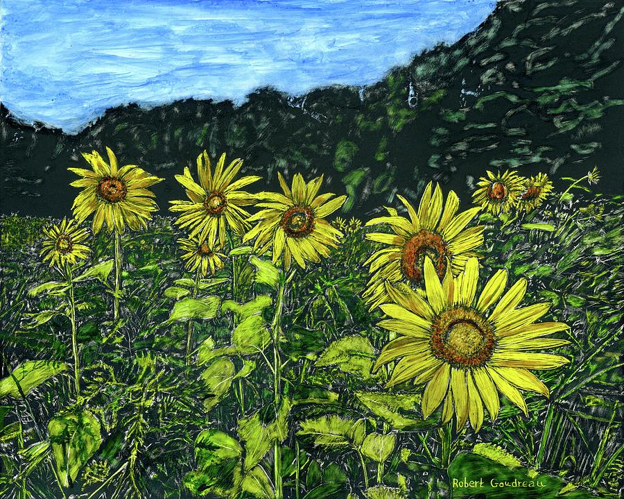 Sunflowers Painting - Field of Sunflowers by Robert Goudreau