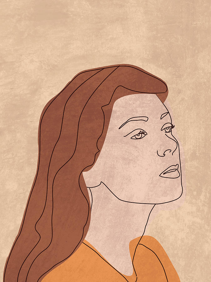 Fierce And Fearless - Contemporary, Minimal Portrait 1 - Brown Mixed Media