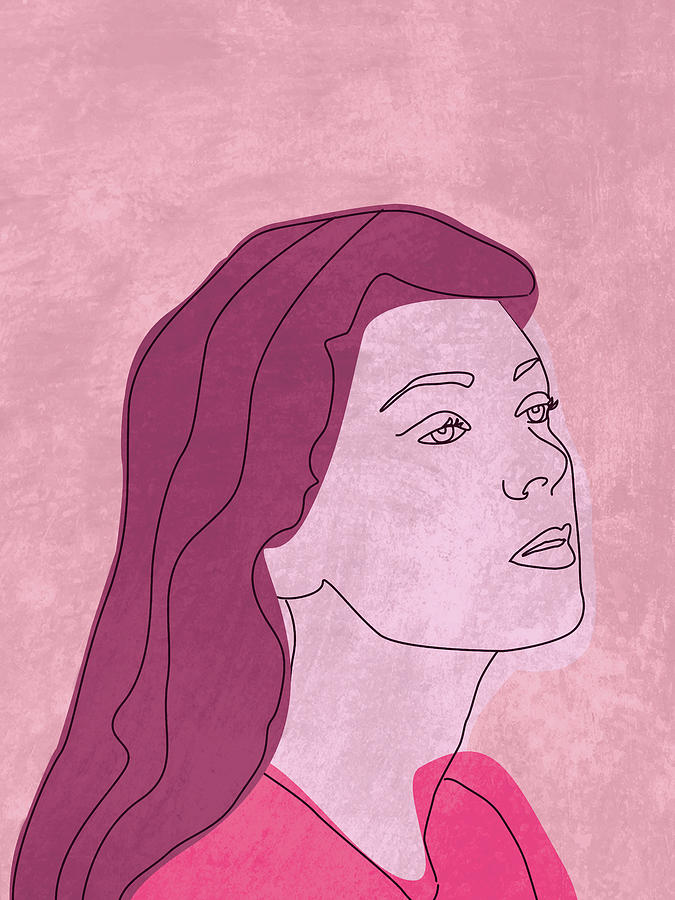 Fierce And Fearless - Contemporary, Minimal Portrait 2 - Pink Mixed Media
