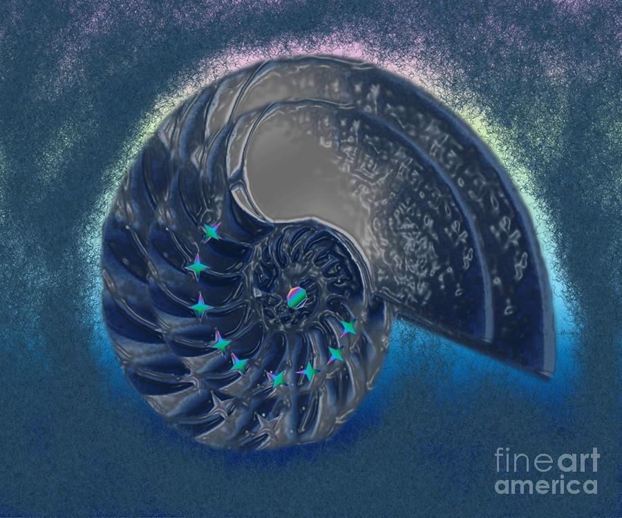 Fiery Dark Blue Fractal Digital Art