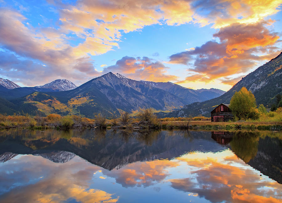 Fiery Fall Sunset At Twin Lakes Photograph