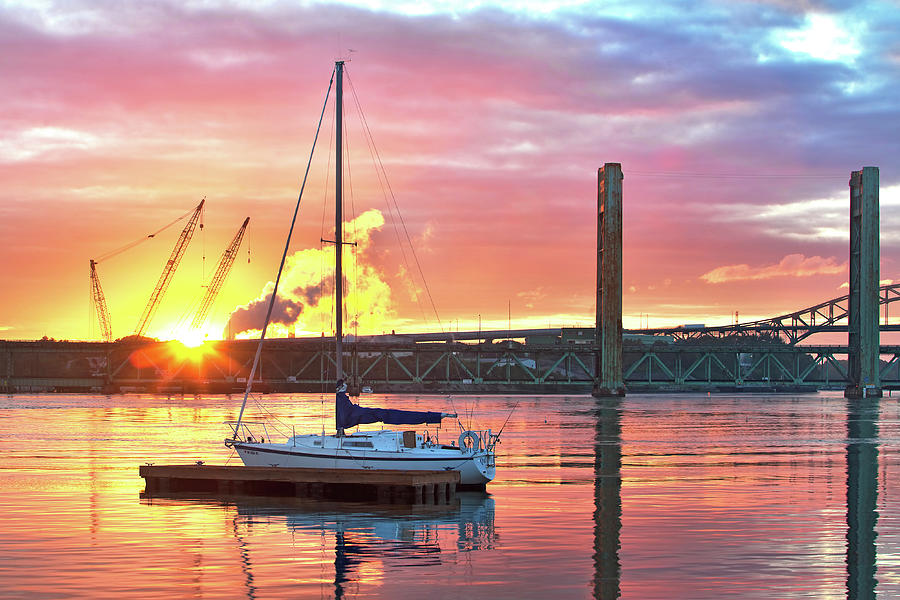 Portsmouth Photograph - Fiery Portsmouth Sunset by Eric Gendron
