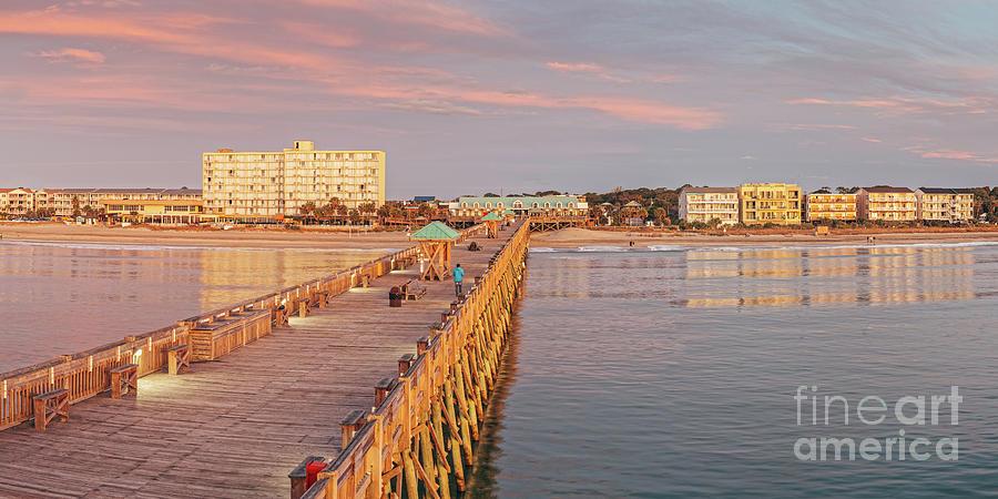 Fiery Sunrise over Folly Beach Pier - Charleston Edge of America South Carolina by Silvio Ligutti