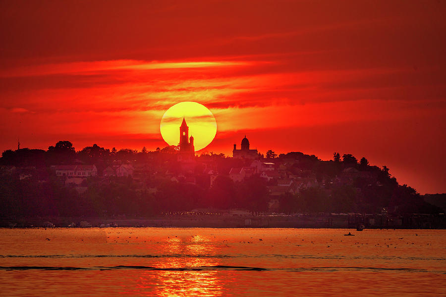 Gardos Photograph - Fiery sunset over Gardos in Belgrade by Dejan Kostic