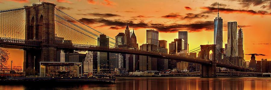 New York City Photograph - Fiery Sunset Over Manhattan  by Az Jackson