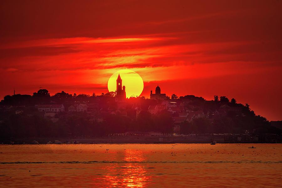 Gardos Photograph - Fiery sunset over the Millennium Tower in Zemun by Dejan Kostic