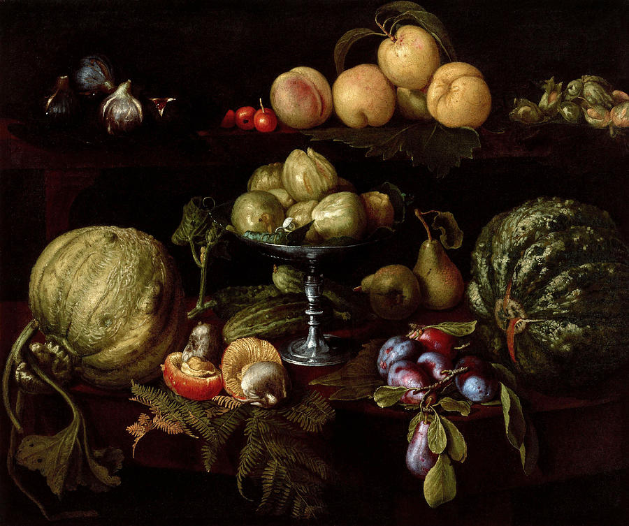 Giovanni Painting - Figs On A Tazza With Pears  Quinces  Melons  Plums  Mushrooms On A Table  With Figs  Cherries  Peaches  And Acorns On A Ledge Above  by Giovanni Battista Crescenzi