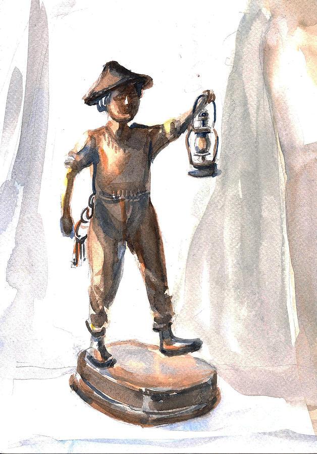 Figurine Of Boy With Lantern Painting