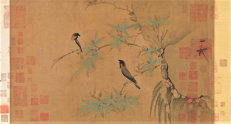 Finches And Bamboo Painting